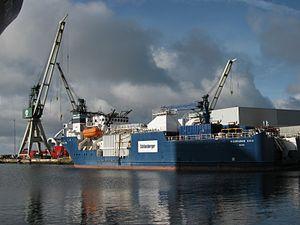 Well stimulation - The well stimulation ship Bigorange XVIII being repaired in Frederikshavn, Denmark