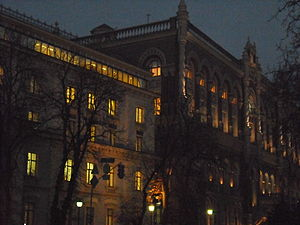 National Bank of Ukraine (building) - The building of the National Bank of Ukraine by night.