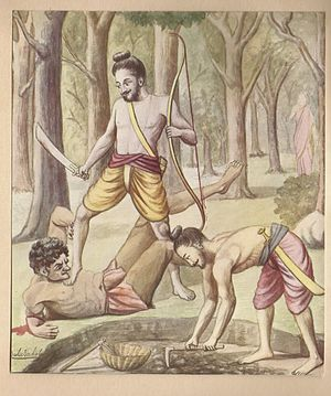 Viradha - Viradha had a special power in that he could not be killed with any weapon. Knowing this fact, Rama grounded and stood on him. Laxman dug a moat, and Viradha was buried live.