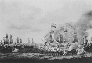 HMS Kingfisher (1675) - Image: Kingfisher painting van de Velde