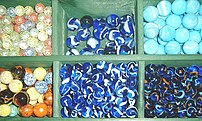 Different glass marbles from a glass-mill