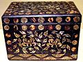 Korean covered lacquer box, mid to late 18th century, lacquer, mother of pearl, tortoise shell and silk, HAA.JPG