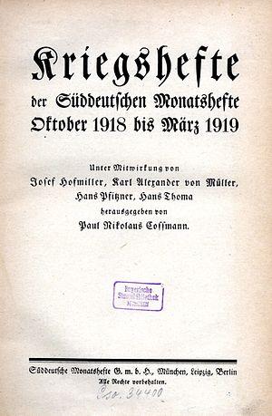 Süddeutsche Monatshefte - Image: Kriegshefte der Süddeutschen Monatshefte