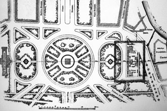 Kroll Opera House - 1879 map of the Königsplatz, Krolloper on the left, projected site of the new Reichstag on the right