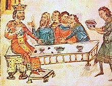 Krum-festenado kun liaj nobeluloj post la batalo de Pliska, detalo de la Manasses-kroniko