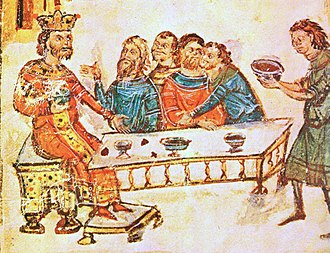 Bulgaria - Khan Krum feasts with his nobles after the battle of Pliska. His servant (far right) brings the wine-filled skull cup of Nicephorus I.