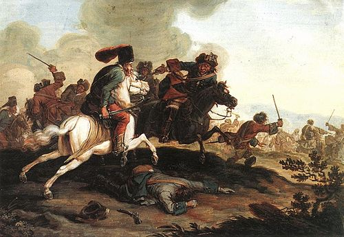 The so-called kuruc were armed anti-Habsburg rebels in Royal Hungary between 1671 and 1711. Kuruc labanc csatajelenet1.jpg