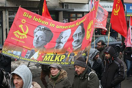 A scene from the 2016 Liebknecht-Luxemburg Demonstration in Berlin, held each year in January to honor the murdered socialists L-L Demo 2016.jpg