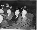 L to R, President Harry S. Truman, Secretary of State James Byrnes, and Ambassador to Belgium Charles Sawyer in a car... - NARA - 198783.tif