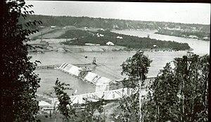 Prince Albert, Saskatchewan - The La Colle Falls hydroelectric power dam under construction in 1916.