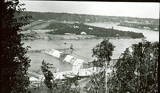 Prince Albert, Saskatchewan - The La Colle Falls hydroelectric power dam under construction in 1916.