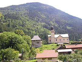 The church and surrounding buildings in La Tour