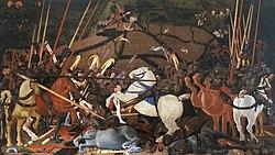 Paolo Uccello: Niccolò Mauruzi da Tolentino unseats Bernardino della Ciarda at the Battle of San Romano