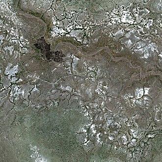 Lake Makgadikgadi - The present day bed of the former Lake Makgadikgadi seen by the SPOT Satellite.