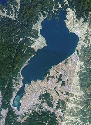 Shiga Prefecture - Lake Biwa in Shiga Prefecture viewed from space