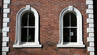 Lamb Hotel, Nantwich - Ground-floor windows, showing lamb's head motif