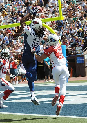 American football - Larry Fitzgerald (in blue) catches a pass while Cortland Finnegan (in red) plays defense at the 2009 Pro Bowl.