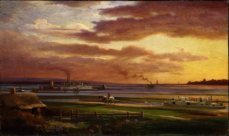 Painting of a sunset over a waterfront harbor