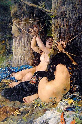 Cantar de Mio Cid - The Cid's daughters after being beaten and tied up, work by Ignacio Pinazo (1879).
