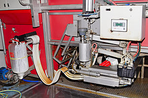 Automatic milking - An older Lely Astronaut AMS unit at work (milking)