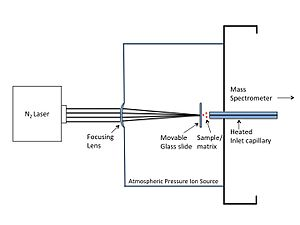 Laser spray ionization - Schematic of LSII
