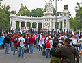 Left-wing demonstration in front of Juarez hemicycle, Mexico City.jpg