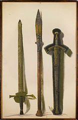 Miecz koronacyjny Augusta III, włócznia św. Maurycego i miecz Zygmunta Augusta
