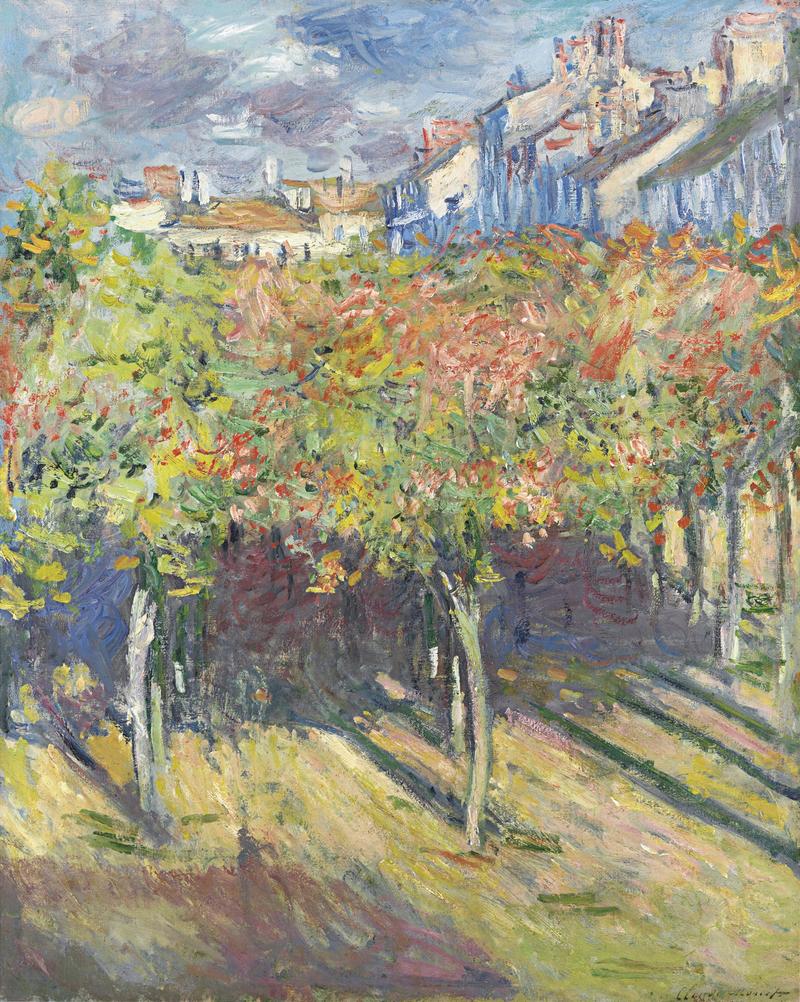 Les Tilleuls à Poissy, tableau peint par Claude Monet en 1882.  (définition réelle 2214×2774)