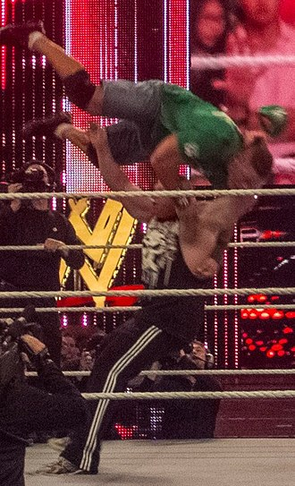 Facebuster - Brock Lesnar performing the F5 on John Cena.