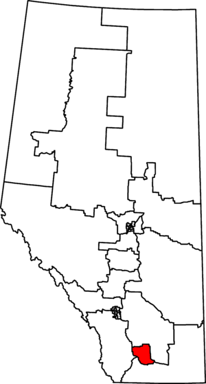 Lethbridge (electoral district) - Lethbridge in relation to other Alberta federal electoral districts as of the 2013 Representation Order.