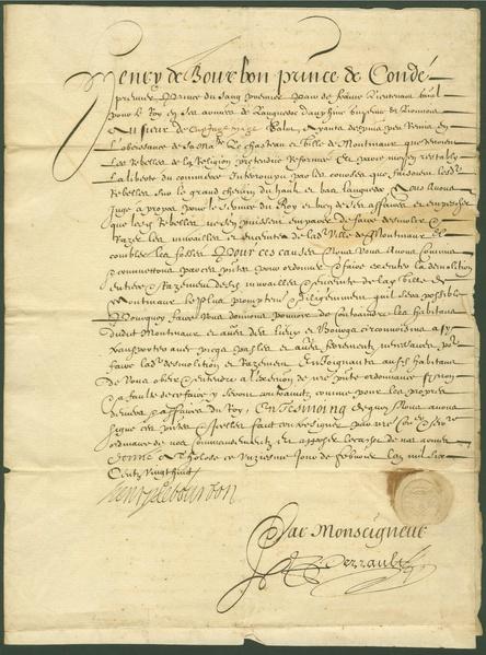 File:Lettre de Condé qui signe la destruction des remparts de montmaur.pdf