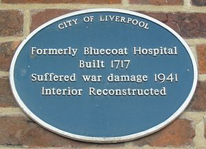 Bluecoat Chambers - Image: Liverpool Bluecoat Hospital plaque
