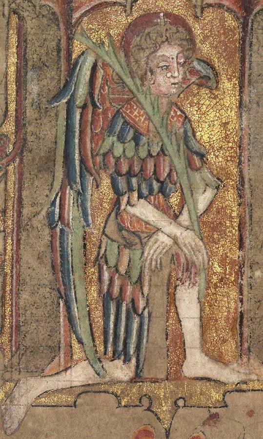 Llanbeblig Hours (f. 1r.) The Annunciation, Gabriel kneeling on one knee