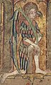 Llanbeblig Hours (f. 1r.) The Annunciation, Gabriel kneeling on one knee.jpg