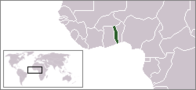 A map showing the location of Togo