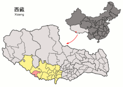 Location of Gyirong County within Tibet