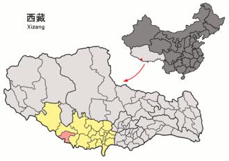 Gyirong County - Image: Location of Gyirong within Xizang (China)