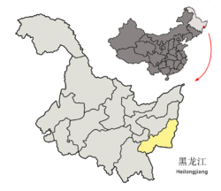 Location of Jixi City (yellow) in Heilongjiang (light grey) and China
