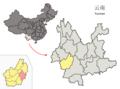 Location of Linxiang within Yunnan (China).png