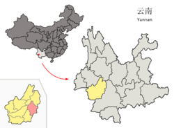 Location of Linxiang District (pink) and Lincang Prefecture (yellow) within Yunnan province of China
