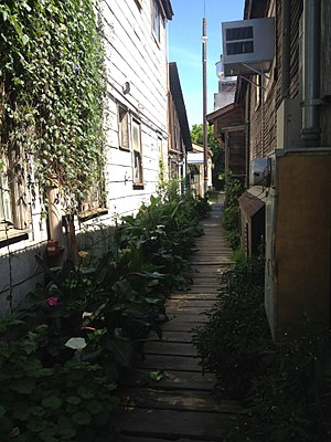 Locke, California - Boardwalk with plenty of greenery between buildings