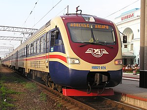 Locomotive EPL2T on train station in Donetsk