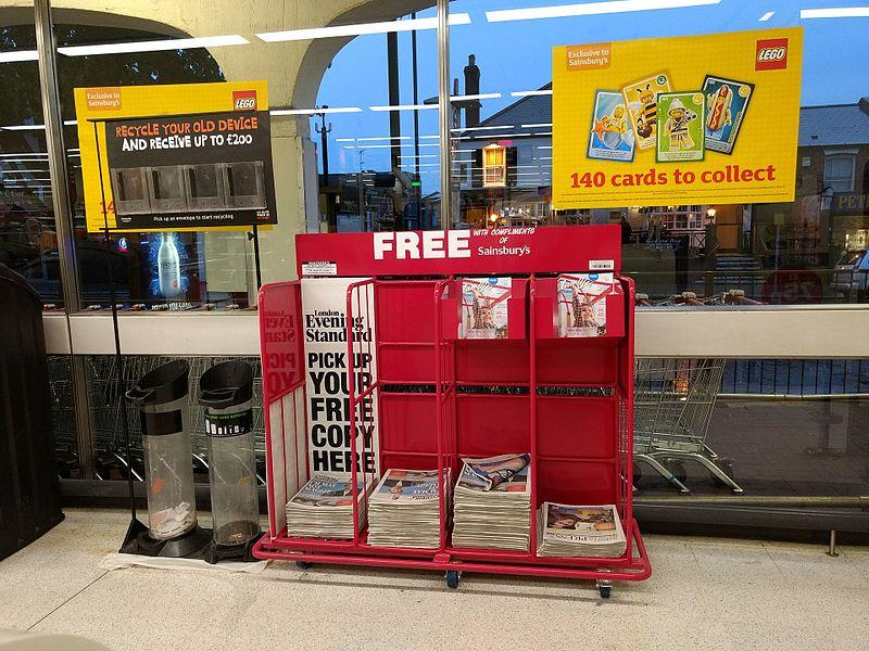 London Evening Standard dispensers, Sainsburys.jpg