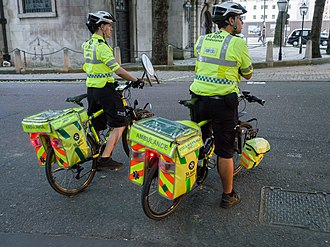 St John Ambulance in England - Cycle Response Units (CRUs) providing cover at an event in London in 2014.