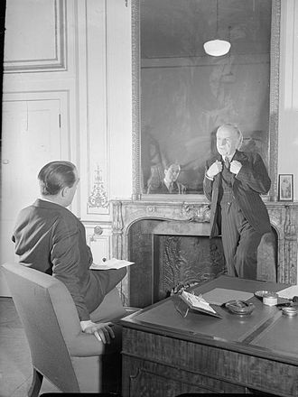 Frederick Marquis, 1st Earl of Woolton - Lord Woolton (right) being interviewed in London in 1944