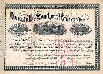 Louisville Southern Railroad - Share of the Louisville Southern Railroad Co. from the 1st March 1887