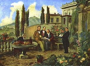Luigi Deleidi - Donizetti and friends, 1840, now in the Museo Donizettiano in Bergamo. From left: Luigi Bettinelli (painter), Donizetti, Dolci (?), Simon Mayr and Deleidi
