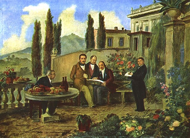 Бергамо, 1940 год. Слева направо: Мишель Беттинелли, Гаэтано Доницетти, А. Дольчи, Симон Майр, Луиджи Делейди