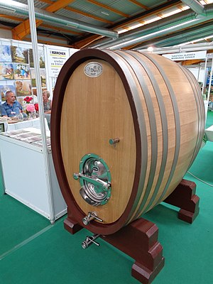Barrel - Wooden wine barrel at an exhibition in Croatia