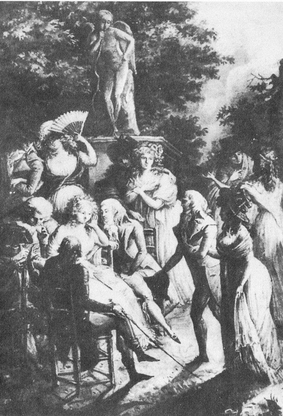 Madame de Staël at Coppet (Debucourt 1800)